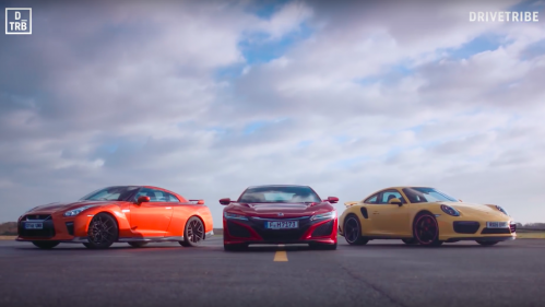 Drive Tribe Throws Porsche 911 Turbo Against Honda NSX and Nissan GT-R in Three-Round Combat