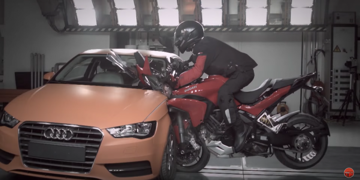 Motorcycle vs. Car Crash Test - Ducati Multistrada vs. Audi A3
