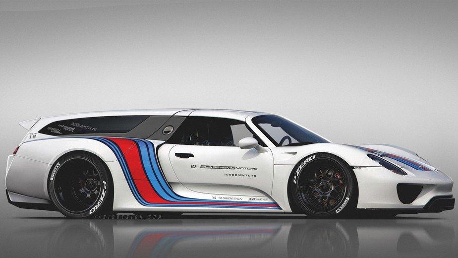 Digital photo manitor envisions a Porsche 918 shooting brake on porsche macan, porsche gt, porsche spyder, porsche p1, porsche gt2, porsche hybrid, porsche supercar, porsche gt3, porsche boxster,