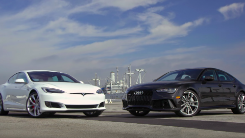 Tesla Model S tries on the very similarly sized Audi RS7 on for good measure