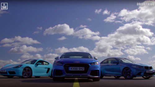 Audi TT RS meets BMW M2, Porsche 718 in a drag race, tries not to laugh