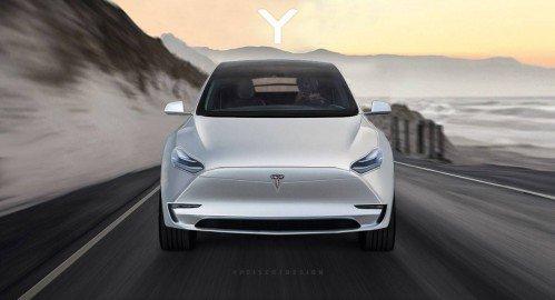 Tesla Model Y teaser shot imagined as actual production car