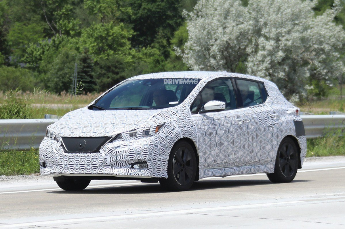 2018 nissan leaf spied inside and out will get propilot. Black Bedroom Furniture Sets. Home Design Ideas