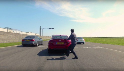 Alfa Romeo Giulia Quadrifoglio breaks down during track duel with M3 and C63