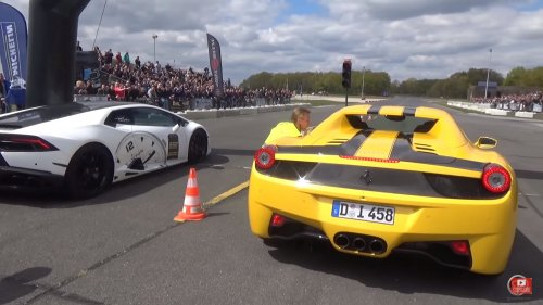 Drag race: Lamborghini Huracan vs Ferrari 458 Spider. Who wins?