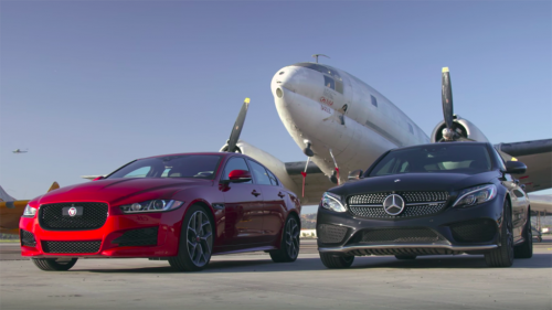 Mercedes-AMG C43 tries Jaguar XE 35t on for size