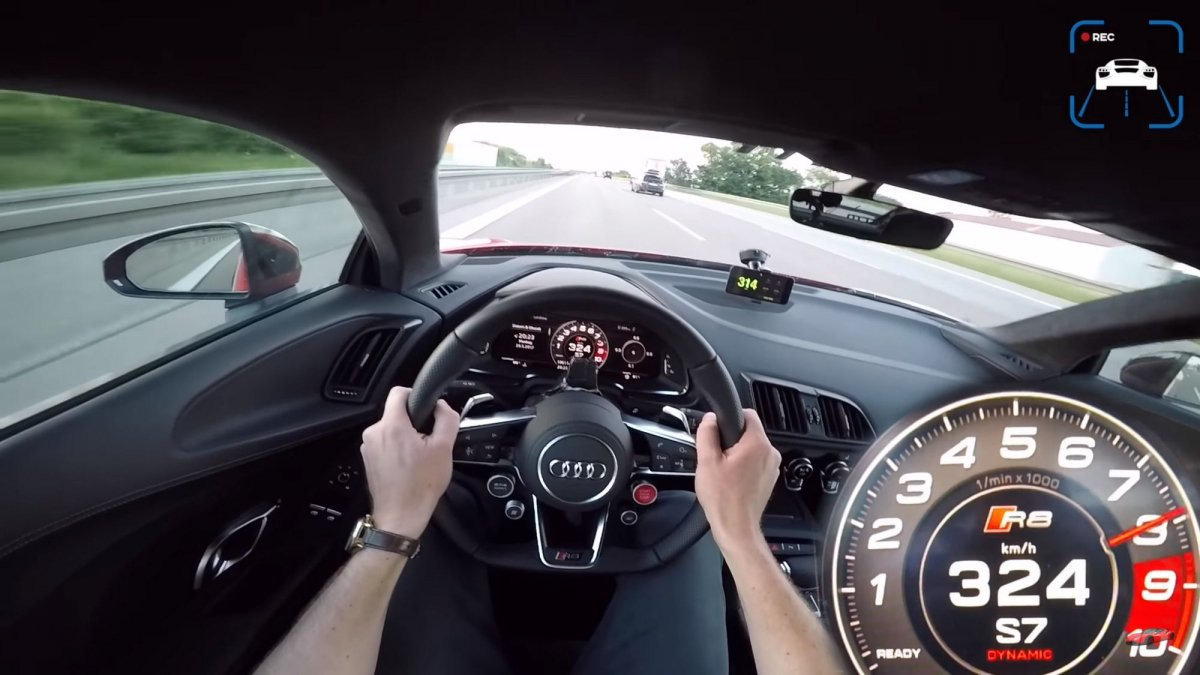 Going 201 mph in an Audi R8 V10 on the Autobahn is something to behol...