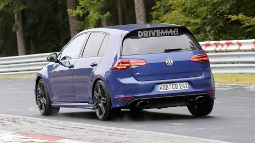 VW Golf R tries new oval tailpipes on the Nürburgring, do we hear five cylinders?