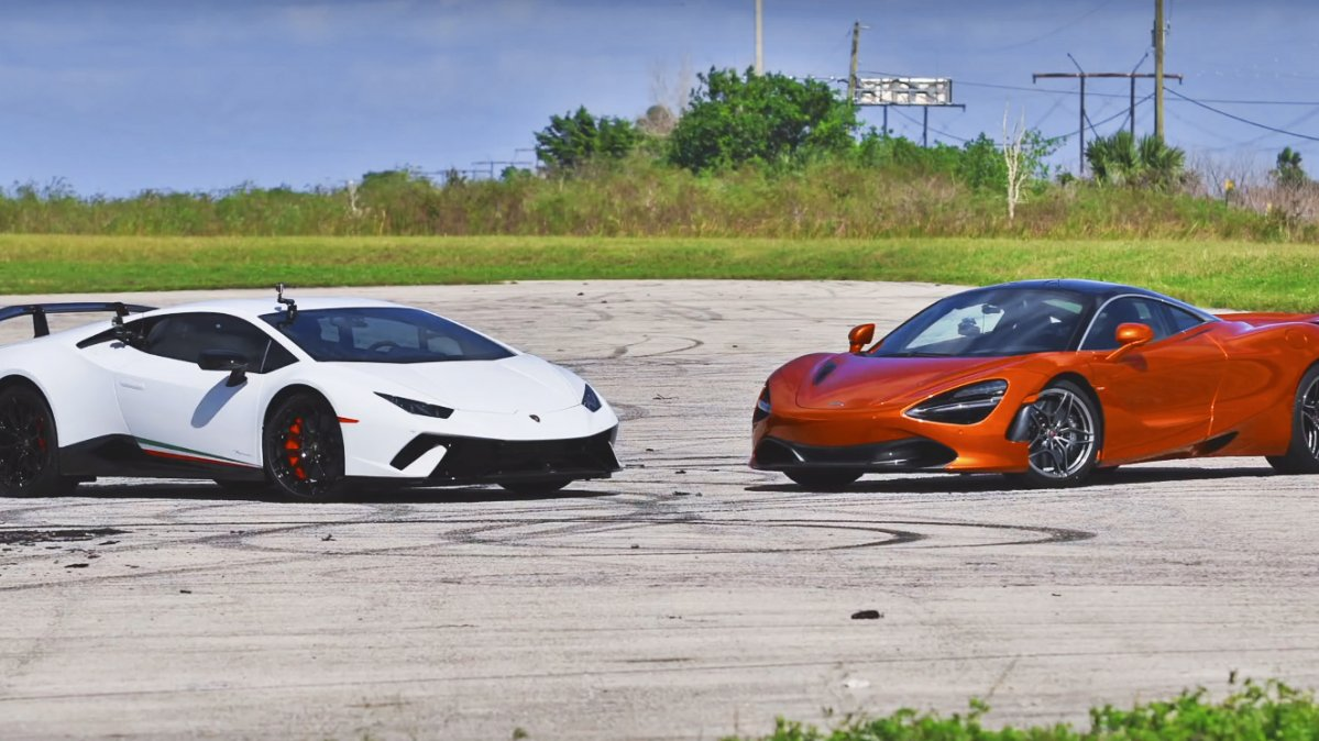 mclaren 720s vs hurac n performante drag race has a very one sided r. Black Bedroom Furniture Sets. Home Design Ideas