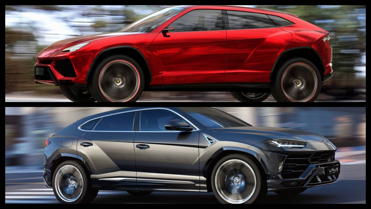 2012 Lamborghini Urus Concept takes on 2018 Urus production model in ...