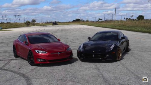 Tesla Model S P100D vs Ferrari FF