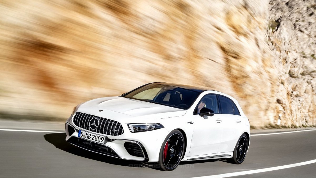 2018 mercedes benz a class imagined as hot amg a45 coup and cabrio. Black Bedroom Furniture Sets. Home Design Ideas