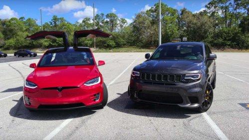 tesla vs jeep drag race