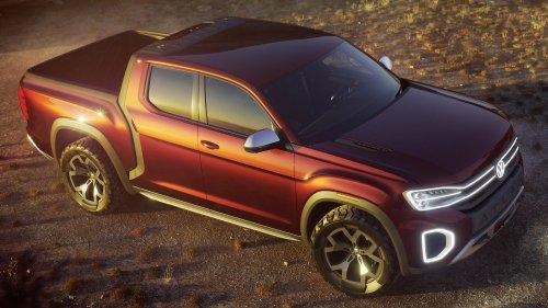 vw atlas tanoak pickup truck front