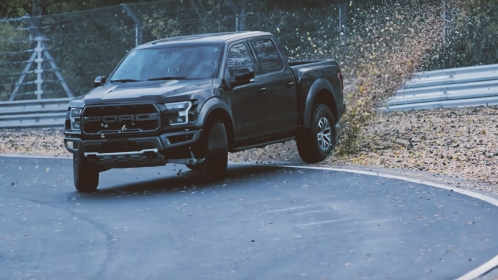ford raptor drifting on the nurburgring