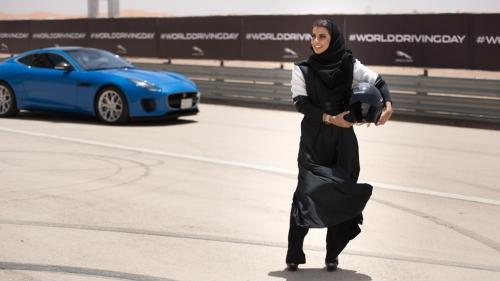 jaguar f-type saudi arabia women driving ban front