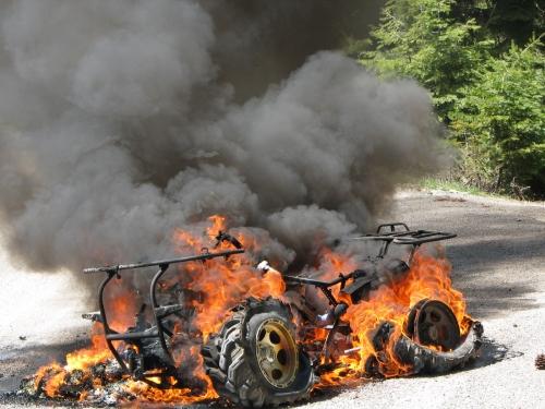 ATV on fire