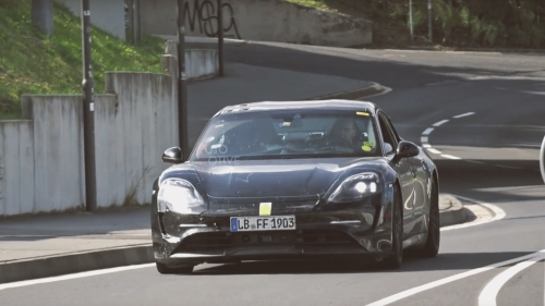 porsche taycan test mule nurburgring spy video